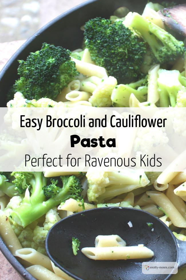 Broccoli and Cauliflower pasta. An easy, healthy recipe.
