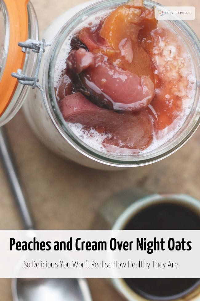 Peaches and Cream Overnight Oats. A really simple and easy healthy breakfast.