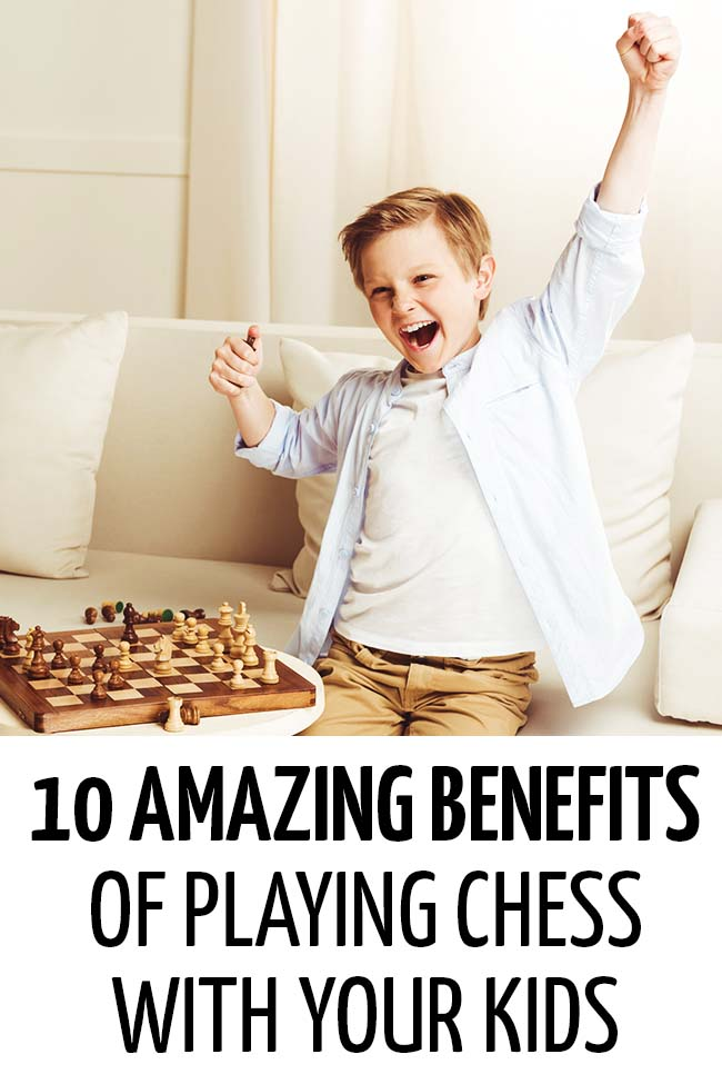 A boy looking happy as he plays chess. He appears to have won! #chess #kids #children #learn #STEM #games #activities #funlearning #chessforkids #familyfun