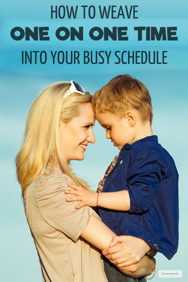 How to Weave One on One Time into Your Busy Schedule. Life can be so busy that we don't have time to connect with our kids. One on one time is a great way to enjoy your kids and help them feel valued. Here's how you can weave one on one time into your busy schedule.