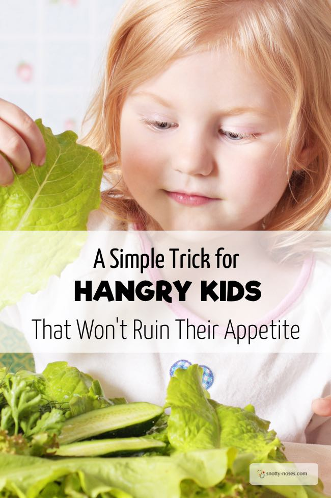 A Simple Trick for Hungry Kids That Won't Ruin Their Appetite. This is such a cute way to stave off the emergency of hungry kids right before dinner and help them eat vegetables.