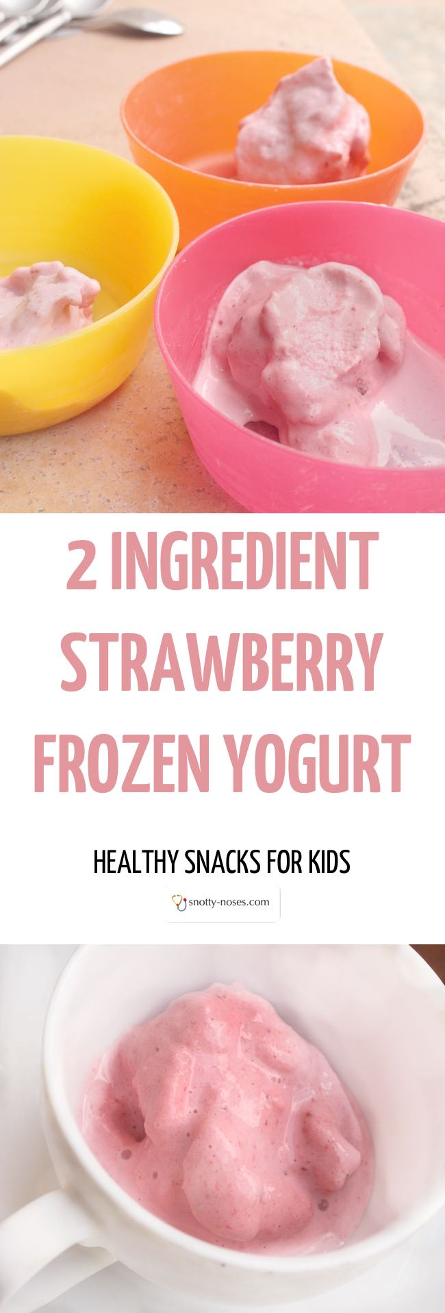 Who said that strawberry frozen yogurt was unhealthy? This is a really easy and really healthy recipe for frozen yogurt that your kids and friends will love. Just 2 ingredients, no added sugar and ready in minutes. I'm happy for my kids to eat this every day!.