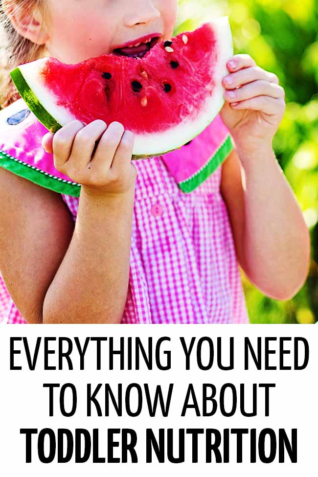 A toddler eating a watermelon. Everything you need to know about toddler nutrition!