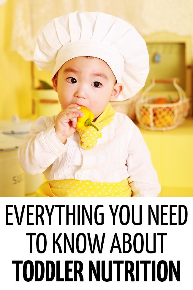 A toddler dressed up as a chef eating a yellow pepper. Everything you need to know about toddler nutrition!