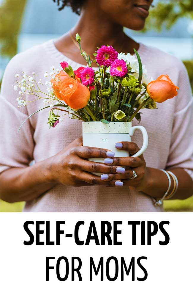 A mother holding a pot of flowers #selfcare #selfcareideas #selfcaretips #selfcareroutine