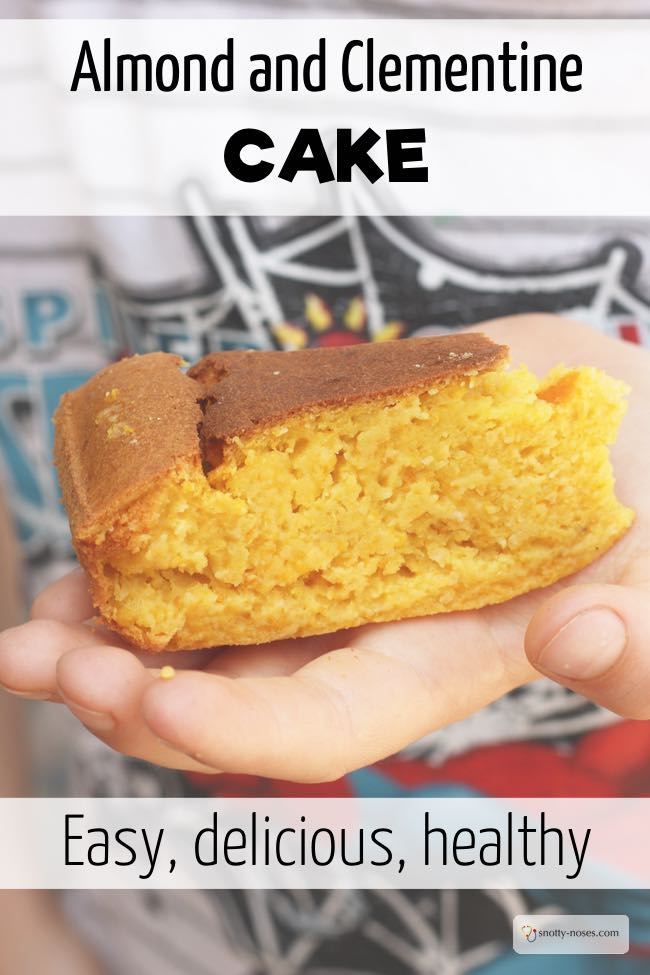Easy Clementine Almond Cake that you can make with your children for a healthy snack or dessert. A gluten free recipe.