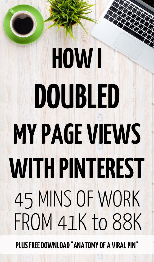 How I doulbed my traffic with 3 pinterest pins. How to spend less time on Pinterest and get more traffic. #blogging #business #onlinebusiness #pinterest #traffic