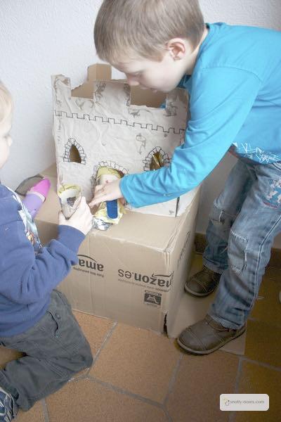 A cardboard box castle