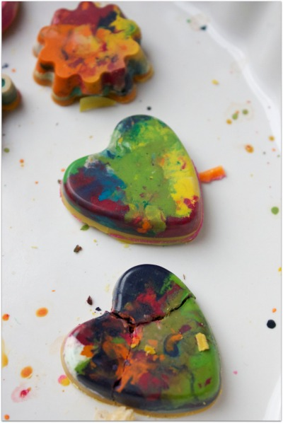 Wax crayons in the shape of hearts