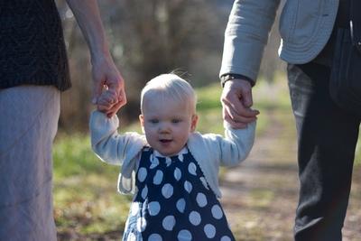 A baby walking